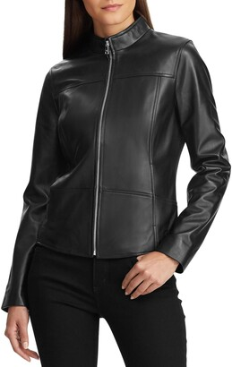 Lauren Ralph Lauren Band Collar Leather Jacket