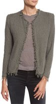 IRO Shavani Open-Front Boucle Jacket, Steel Gray