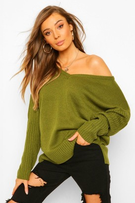 boohoo V Neck Off Shoulder Ribbed Jumper