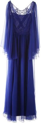 Alberta Ferretti LONG CHIFFON DRESS 42 Blue Silk