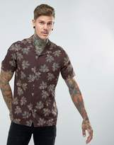 Asos Regular Fit Viscose Shirt With Leaf Print And Revere Collar