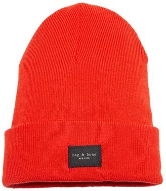 Rag & Bone Addison Beanie (Fiery Red/Orange) Caps