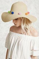 Forever 21 Pom Pom Straw Hat