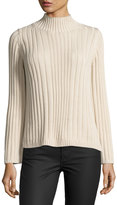 525 America Ribbed Mock-Neck Sweater, White