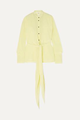Petar Petrov Tie-front Draped Silk Crepe De Chine Blouse - Yellow