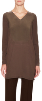 Lafayette 148 New York V-Neck Needle-Punch Tunic with Sand-Washed Silk Panel