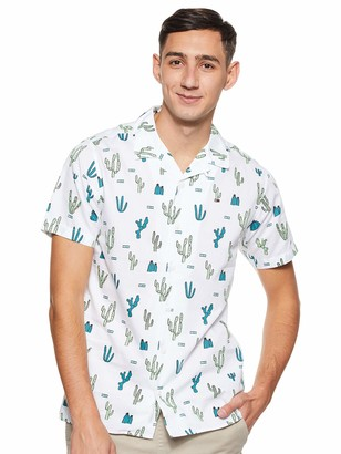 Tommy Jeans Men's Summer Print Camp Short Sleeve Classic Casual Shirt