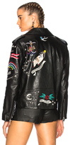 Valentino Tattoo Embroidery Leather Jacket in Black.