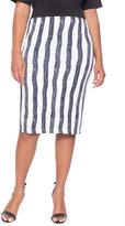 ELOQUII Plus Size Striped Pencil Midi Skirt