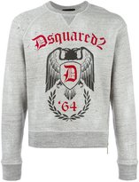 DSQUARED2 logo eagle '64 emblem print hoodie - men - Cotton - S