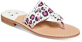 Jack Rogers Women's Jacks Leopard Print Stacked-Heel Sandals
