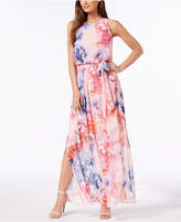 Jessica Howard Belted Floral-Print Maxi Dress