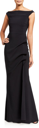 Chiara Boni Melania Off-the-Shoulder Cap-Sleeve Shirred-Skirt Gown