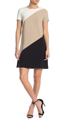 London Times Colorblock Tritone A-Line Dress