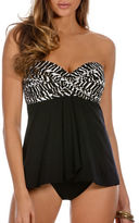 Miraclesuit Two-Tone Draped DD Bandeau Tankini Top