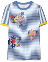 Tory Burch Striped Floral Embroidered T-Shirt