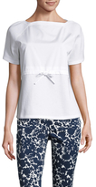 Prada Linea Rossa Cotton Boatneck Bow Appliqu&eacute Bodice Top