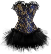 Zhitunemi Women's Gothic Vintage Corset Skirt Set Moulin Rouge Dancer Fancy Clubwear Medium