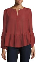 Max Studio Long-Sleeve Ruffled High-Low Blouse