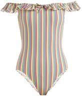 Solid & Striped The Amelia off-the-shoulder striped swimsuit