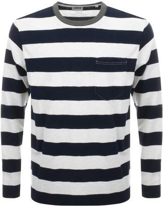 Edwin Long Sleeve Ringer Bar Striped T Shirt Navy
