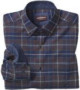 Johnston & Murphy Large Plaid Brushed-Cotton Button-Collar Shirt