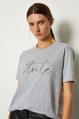 Karen Millen Etoile Slogan Cotton T Shirt