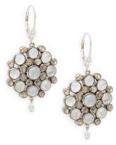 Meira T Diamond, Moonstone, 14K White Gold & Silver Earrings