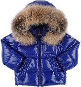 Moncler Fur-Trimmed Down-Quilted Coat-BLUE