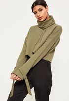 Missguided Khaki Funnel Neck Strap Cuff Sweatshirt