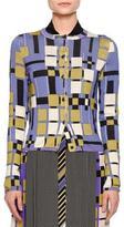 Bottega Veneta Button-Front Block Cardigan, Black/Ecru