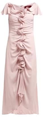 Sies Marjan Portia Ruffle Front Crepe Midi Dress - Womens - Pink