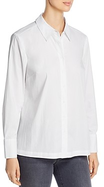 Marled Pleated-Back Button-Up Shirt