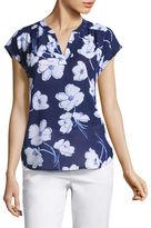 Liz Claiborne Short Flutter Sleeve Split Neck T-Shirt