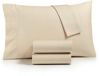 Sunham Dobby Stripe 4-Pc Queen Sheet Set, 600 Thread Count, 100% Cotton Bedding
