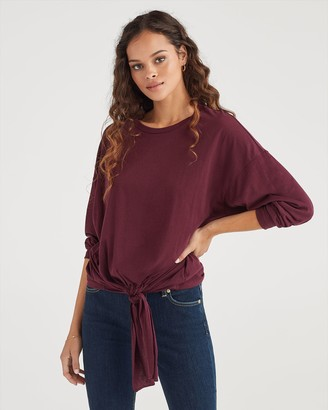 7 For All Mankind Feather Weight Jersey Long Sleeve Tunnel Front Tee in Bordeaux Wine