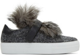 Moncler Grey Fur Victoire Slip-on Sneakers