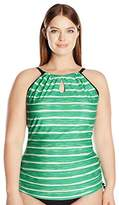 Free Country Women's Plus Size Horizon Melange Keyhole Halter Tankini Top