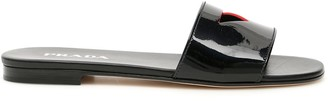 Prada Patent Slides With Cut-out Triangle