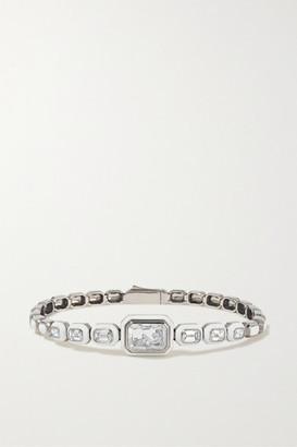 Moritz Glik 18-karat Gray Gold Palladium, Enamel, Sapphire Crystal And Diamond Bracelet - Silver