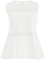 Giambattista Valli Sleeveless Peplum Floral Appliqué Top