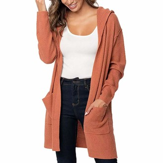 HOOUDO Womens Cardigan Fashion Casual Long Sleeve Solid Pocket Tops Sweater Overcoat Jacket Outwear Hooded Coat (L