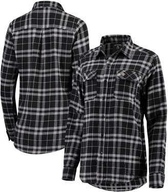 Antigua Women's Black/Gray New Orleans Saints Stance Flannel Button-Up Long Sleeve Shirt