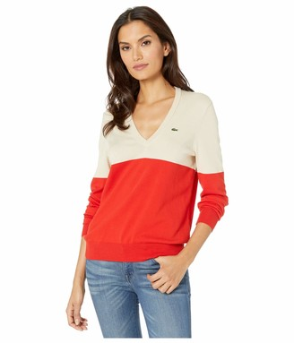 Lacoste Women's V-Neck Colorblock Jersey Sweater