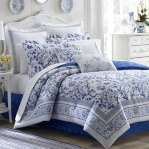 Laura Ashley Twin Charlotte China Blue Comforter Set Bedding