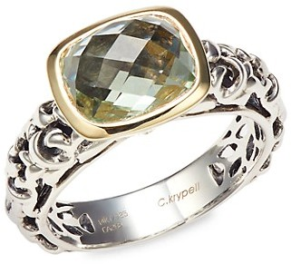 Charles Krypell Sterling Silver, 14K Yellow Gold Green Amethyst Ring
