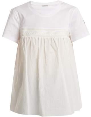Moncler Round-neck Gathered-panel Cotton T-shirt - Womens - White
