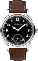Montblanc 112638 Collection 1858 Leather And Stainless Steel Watch