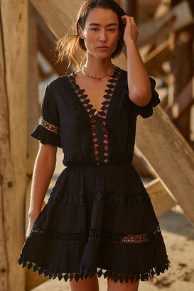 Peixoto Embroidered Lace Cover-Up Mini Dress By in Black Size S