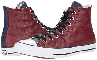 Converse Chuck Taylor All Star Three-Color Leather Hi (Team Red/Obsidian/White) Athletic Shoes